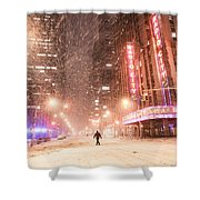 New York City - Snow And Empty Streets - Radio City Music Hall Shower Curtain