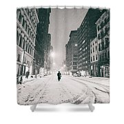 New York City - Snow - Empty Streets At Night Shower Curtain