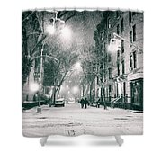 New York City - Winter Night In The West Village Shower Curtain