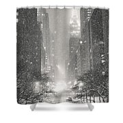 New York City - Winter Night Overlooking The Chrysler Building Shower Curtain by Vivienne Gucwa