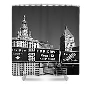 New York City With Traffic Signs Shower Curtain