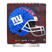 New York Giants Nfl Football Helmet License Plate Art Shower Curtain