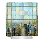 New York Golden Panorama Shower Curtain