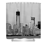 New York Harbor In Black And White Shower Curtain