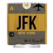 New York Luggage Tag Poster 3 Shower Curtain by Naxart Studio