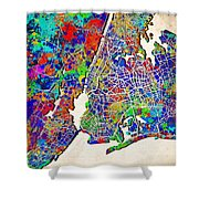 New York Map Abstract 2 Shower Curtain