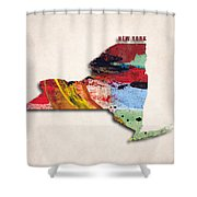 New York Map Art - Painted Map Of New York Shower Curtain