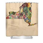 New York Map Vintage Watercolor Shower Curtain