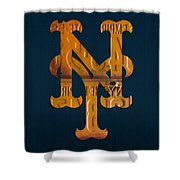New York Mets Baseball Vintage Logo License Plate Art Shower Curtain