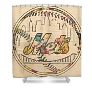 New York Mets Poster Vintage Shower Curtain