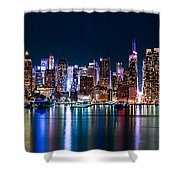 New York Panorama By Night Shower Curtain