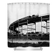 New York Railroad Bridge Shower Curtain