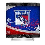 New York Rangers Christmas Shower Curtain