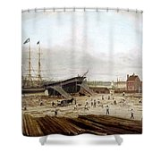 New York Shipyard, 1833 Shower Curtain