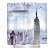 New York Skyline And Blimp Shower Curtain