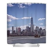 New York Skyline And Boat Shower Curtain