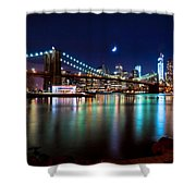 New York Skyline And Brooklyn Bridge With Crescent Moon Rising Shower Curtain
