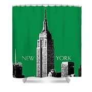 New York Skyline Empire State Building - Forest Green Shower Curtain