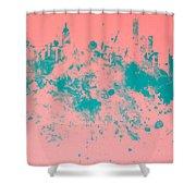 New York Skyline Paint Splash Shower Curtain