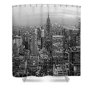 New York Skyline Panorama Bw Shower Curtain