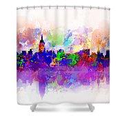 New York Skyline Splats 3 Shower Curtain by Bekim Art