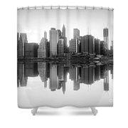 New York Skyline Sunset Bw Shower Curtain