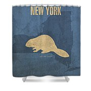 New York State Facts Minimalist Movie Poster Art  Shower Curtain