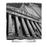 New York Stock Exchange Wall Street Nyse Bw Shower Curtain