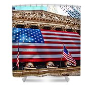 New York Stock Exchange With Us Flag Shower Curtain