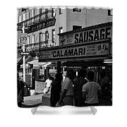 New York City Street Fair - Calamari Sausage - Black And White  Shower Curtain