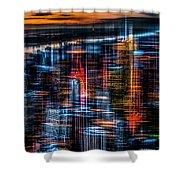 New York- The Night Awakes - Orange Shower Curtain by Hannes Cmarits