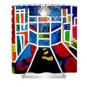 New York Times Square  By Janelle Dey Shower Curtain
