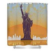 New York Vintage Poster Shower Curtain
