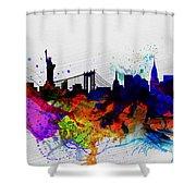New York  Watercolor Skyline 1 Shower Curtain