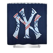 New York Yankees Baseball Team Vintage Logo Recycled Ny License Plate Art Shower Curtain