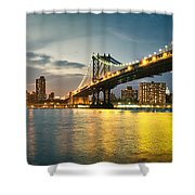 New York City - Brooklyn Bridge To Manhattan Bridge Panorama Shower Curtain