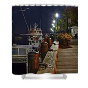 Newburyport Docks Full Moon Shower Curtain