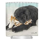 Newfoundland Dog In Snow Stuffed Animal Cathy Peek Art Shower Curtain