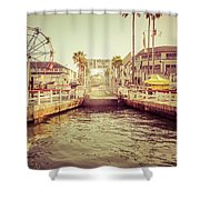 Newport Beach Balboa Island Ferry Dock Photo Shower Curtain by Paul Velgos