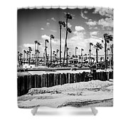 Newport Beach Dory Fishing Fleet Black And White Picture Shower Curtain by Paul Velgos