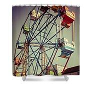 Newport Beach Ferris Wheel In Balboa Fun Zone Photo Shower Curtain by Paul Velgos