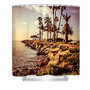 Newport Beach Jetty Vintage Filter Picture Shower Curtain