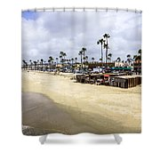Newport Beach Oceanfront Businesses With Dory Fleet Shower Curtain by Paul Velgos