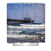 Newport Beach Pier In Orange County California Shower Curtain by Paul Velgos
