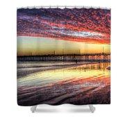 Newport Beach Pier Sunset Shower Curtain