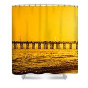 Newport Beach Pier Sunset Panoramic Photo Shower Curtain