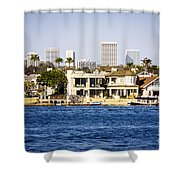Newport Beach Skyline And Waterfront Homes Picture Shower Curtain by Paul Velgos