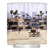 Newport Beach Skyline And Waterfront Luxury Homes Shower Curtain