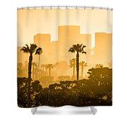 Newport Beach Skyline Morning Sunrise Picture Shower Curtain by Paul Velgos