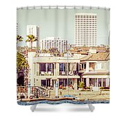 Newport Beach Skyline Vintage Panorama Shower Curtain